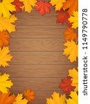autumn leaves on wooden...   Shutterstock .eps vector #1149790778