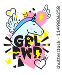 grl pwr short quote. girl power ... | Shutterstock .eps vector #1149806258