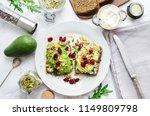 healthy avocado toasts for... | Shutterstock . vector #1149809798