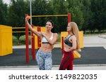 beautiful girls sportswomen...   Shutterstock . vector #1149822035
