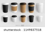 realistic paper coffee cup  ... | Shutterstock .eps vector #1149837518