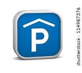 indoor parking sign on a white...   Shutterstock . vector #114987376