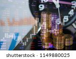 step of coins stacks and alarm... | Shutterstock . vector #1149880025