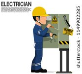 an electrical worker is fixing... | Shutterstock .eps vector #1149902285