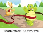 Stock vector a vector illustration of tortoise and hare racing 114990598
