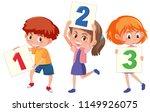 children holding card number... | Shutterstock .eps vector #1149926075