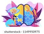 man doing human brain puzzle.... | Shutterstock .eps vector #1149950975