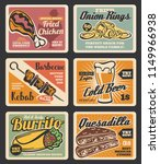 fast food menu retro cards with ... | Shutterstock .eps vector #1149966938