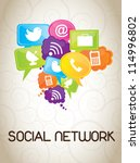 icons of social network over... | Shutterstock .eps vector #114996802