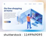 online shopping at home.... | Shutterstock .eps vector #1149969095