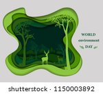 deer family silhouette on green ... | Shutterstock .eps vector #1150003892