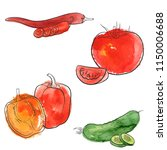 vector drawing vegetables with...   Shutterstock .eps vector #1150006688