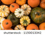 many various pumpkins... | Shutterstock . vector #1150013342