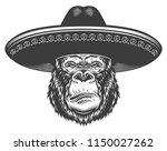 serious gorilla in monochrome... | Shutterstock .eps vector #1150027262