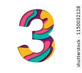 alphabet paper cut number three ... | Shutterstock .eps vector #1150032128