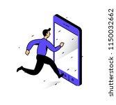 illustration of a man running... | Shutterstock .eps vector #1150032662