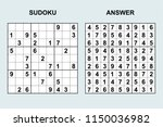 vector sudoku with answer 157.... | Shutterstock .eps vector #1150036982