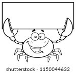 black and white happy crab... | Shutterstock .eps vector #1150044632
