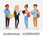 set of diverse college or... | Shutterstock .eps vector #1150054505