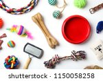 Stock photo flat lay composition with accessories for cat and dog on white background pet care 1150058258