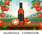 ketchup retro ads with 3d... | Shutterstock . vector #1150063148