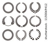 heraldic laurel wreath elements | Shutterstock .eps vector #1150069412