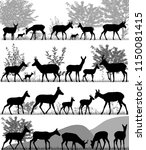 silhouettes of pronghorn... | Shutterstock .eps vector #1150081415