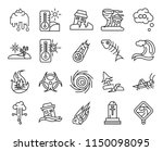 set of 20 icons such as tsunami ...