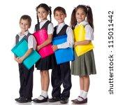 four smiling schoolchild... | Shutterstock . vector #115011442