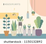 various kind of house plant... | Shutterstock .eps vector #1150132892