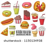 fast food cartoon icons and... | Shutterstock .eps vector #1150134938