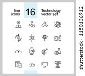 technology icons. set of line... | Shutterstock .eps vector #1150136912