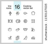 cooking icons. set of  line... | Shutterstock .eps vector #1150137035