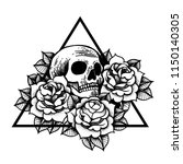 rose and skull tattoo with... | Shutterstock .eps vector #1150140305