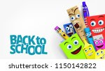back to school template with... | Shutterstock .eps vector #1150142822