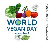 world vegan day. vector... | Shutterstock .eps vector #1150148552