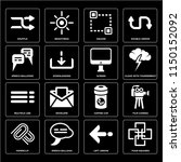 set of 16 icons such as four...