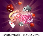 sticker style text game night... | Shutterstock .eps vector #1150159298