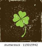 Clover Four Leaf On Grunge...