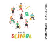 students and pupils characters... | Shutterstock .eps vector #1150167908