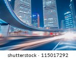 fast moving cars at night | Shutterstock . vector #115017292