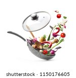 vegetable composition. frying... | Shutterstock . vector #1150176605