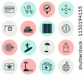 travel icons set with surfing ... | Shutterstock .eps vector #1150194155