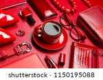 woman red accessories with... | Shutterstock . vector #1150195088