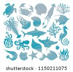 vector set of silhouettes of... | Shutterstock .eps vector #1150211075
