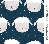 cute cartoon sheep seamless... | Shutterstock .eps vector #1150220198