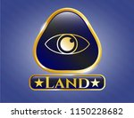 shiny badge with eye icon and... | Shutterstock .eps vector #1150228682