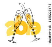 two glasses of champagne on the ... | Shutterstock .eps vector #1150229675