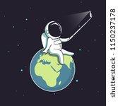 funny astronaut make selfie on... | Shutterstock .eps vector #1150237178