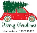 christmas car illustration | Shutterstock .eps vector #1150243472